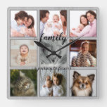 Family A Journey to Forever Rustic Photo Collage Square Wall Clock