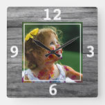 Rustic Gray Wood Create Your Own Photo Square Wall Clock
