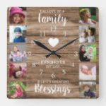 10 Square Photo Collage Family Quote Rustic Wood Square Wall Clock