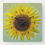 Bright Yellow Sunflower Square Wall Clock