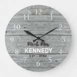 Personalized Gray Wood Wedding Anniversary Large Clock