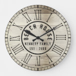 Rustic Wood Beach House Black Roman Numeral Large Clock