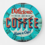 vintage delicious coffee sign large clock