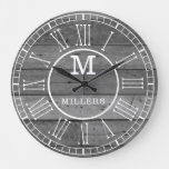 Rustic Family Name Gray Wood Plank Monogram Large Clock