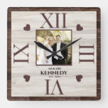 Rustic Wood Personalized Photo Wedding Anniversary Square Wall Clock