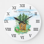 At the Cabin | Family Name Wilderness Large Clock