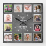 Create Your Own 12 Photo Collage Frame Chalkboard Square Wall Clock
