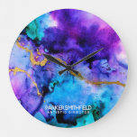 Gold Blue Watercolor Large Clock
