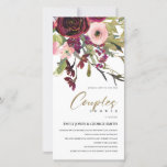 GOLD PINK BURGUNDY ROSE FLORA COUPLE SHOWER INVITE