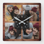 Rustic Barn Wood 4 Pictures Family Photo Collage Square Wall Clock