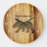 Rustic Black Bear Lodge 2 Large Clock