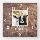 Rustic Personalized Wedding Anniversary Photo Wood Square Wall Clock