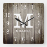 Rustic Personalized Wood Farmhouse Monogram Name Square Wall Clock