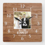 Unique Wedding Photo Anniversary Wood Personalized Square Wall Clock