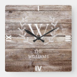 Rustic Barn Wood Plank White Laurel Monogrammed Square Wall Clock