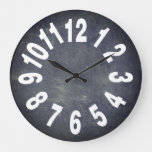 Rustic Chalkboard Large Numbers Large Clock