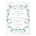 Rustic Dusty Blue Eucalyptus Greenery Wedding Invitation