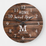 Rustic Wood Home Sweet Home Monogram Family Name Large Clock