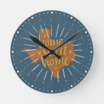Blue, Orange, Gold Home Sweet Home – Texas Round Clock