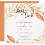 Fall in Love Golden Foliage Autumn Copper Wedding Invitation