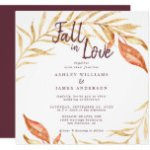 Fall Love Golden Foliage Autumn Burgundy Wedding Invitation