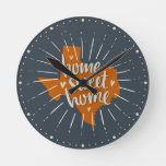 Longhorn Burnt Orange Home Sweet Home – Texas Round Clock