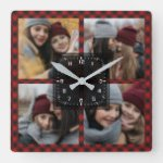 Red Buffalo Plaid Lumberjack Family Photo Collage Square Wall Clock