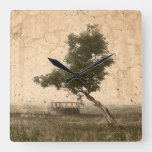 Rustic Country Farm Beige Vintage Antique Tree Square Wall Clock