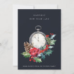 VINTAGE RED GREEN NAVY HOLLY BERRY NEW YEAR CLOCK HOLIDAY CARD