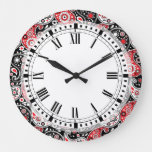Country Western Farm Bandana Paisley Kitchen Large Clock