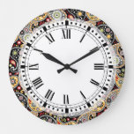 Country Western Farm Bohemian Paisley Kitchen Large Clock