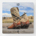Cowboy Boots Numbered Wall Clock