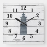 Lighthouse Nautical Blue Shiplap Rustic Decor Square Wall Clock