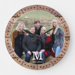 Photo Family Name Monogram Rustic Brown Wood  Large Clock