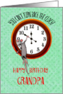 For Grandpa,Happy birthday . Mouse and turning back the clock, humor, Greeting Card