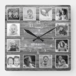 Black And White Photo Collage Family Quote Wood Square Wall Clock