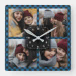 Blue Buffalo Plaid Lumberjack Family Photo Collage Square Wall Clock