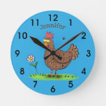 Funny chicken rustic whimsical cartoon round clock