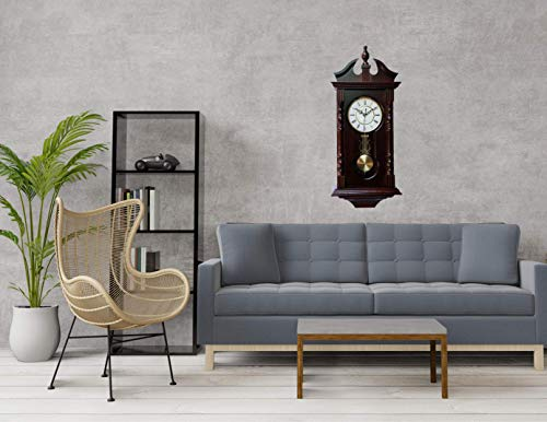 Vmarketingsite Wall Clocks: Grandfather Wood Wall Clock with Chime. Pendulum Wood Traditional Clock. Makes a Great Housewarming or Birthday Gift Wall Clock Chimes Every Hour with Westminster Melody
