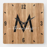 Rustic Barnwood Farmhouse Monogram Square Wall Clock
