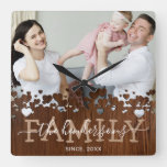 Rustic Country Family Photo Square Wall Clock