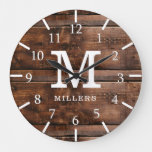 Rustic Dark Brown Barn Wood Family Name Monogram Large Clock