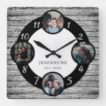 Stylish Gray Wood Family Photo Collage Keepsake Square Wall Clock
