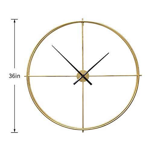 Little kuku 36 Inch Silent Wall Clock Non Ticking, Oversize Farmhouse Rustic Metal Vintage Large Decorative Living Room Bedroom Office Kitchen