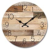 HDC International Wall Clock Natural Color Wood Planks Look 13″ Round