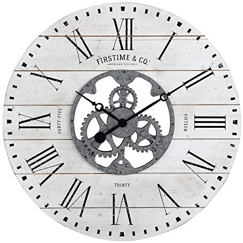FirsTime & Co. Shiplap Gears Wall Clock, 27″, Aged White