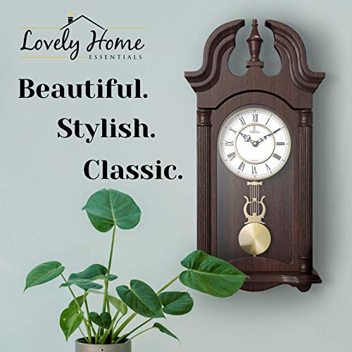 Pendulum Wall Clock, Silent Decorative Wood Pendulum Clock with Swinging Pendulum, Battery Operated, Dark Wooden Design, for Living Room, Dining Room, Kitchen, Office & Home Décor, 23.5×9.25 Inch