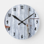 Wall Clock White Wash Wood Barn Door Country Rusti