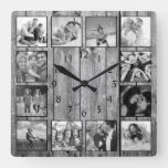 Modern Farmhouse Family Rustic Photo Collage Square Wall Clock