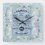 """Family Rules"" Farmhouse Chic Blue Scripture  Square Wall Clock"